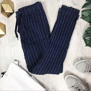 Vince Blue Black Pin Stripe Skinny Linen Pants